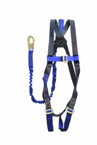 Elk River 48013 ConstructionPlus CP+ PolyesterNylon Full Body Harness with Parachute Mating Buckles and 6' NoPac Lanyard, Fits Small to X-Large