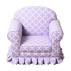 HomePop Juvenile Geometric Lavender Skirted Arm Chairs