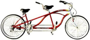 J Bikes by Micargi Island 26 18-Speed 2-Seater Tandem Bicycle Beach Cruiser Bike - Red