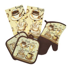 Kitchen Linen Set (Includes one oven mitt, two pot holders and two dish towels) (Tan & White)