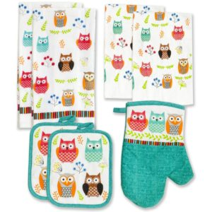 Kitchen Towel Linen Set of 7 Pieces Owl Design 2 Kitchen Towels 2 Potholders, 1 Oven Mitt and 2 Dishcloth
