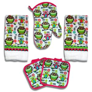 Kitchen Towel Set 5 Piece Towels Pot Holders Oven Mitt Decorative Design Everyday Use (5 Piece, Pink Owl)