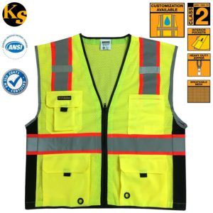 KwikSafety Class 2 Deluxe High Visibility Safety Vest with Reflective Strips and Pockets - Meets ANSIISEA Standards, Yellow Reflective Safety vest, Size LargeXL
