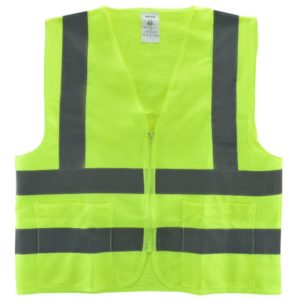 Neiko® 53962A High Visibility Neon Green Safety Vest with Reflective Strips and Mesh Fabric and Pockets, ANSIISEA Standard Size L