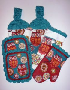 Owl 6-pc Kitchen Set, Hanging Towels, Pot Holders, Oven Mitt, Dish Cloth