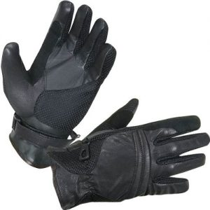 Xelement XG296 Men's Black Leather& Textile Summer Motorcycle Gloves
