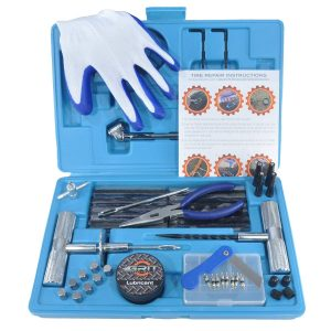 Heavy Duty Tire Repair Kit with Gloves Universal Tubeless Flat Tire Plug Kit for Puncture Repair