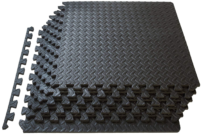 Black Interlocking Mat Yoga Exercise Gym Fitness Gymnastics Soft Foam UK