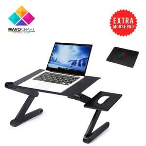 Adjustable Laptop Riser Stand - Portable & Vented Laptop DeskStandTable for MacBook, Notebook & Ultrabook - Lightweight &Ergonomic Tray for Bed, Lap & TV - with 2 USB Cooling Fans & Mouse Pad