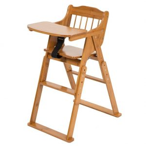 ELENKER Wood Baby High Chair with Tray. Adjustable and Foldable High Chair for Babies
