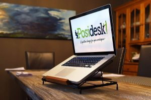 Posidesk POSI211LPBK Adjustable Folding Laptop Stand 3 Angle Positions Mesh Back Heat Ventilation