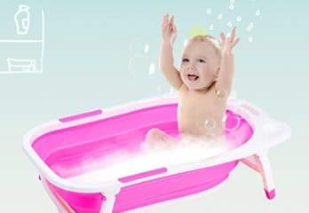 Costzon Baby Folding Bathtub, Infant Collapsible Portable Shower Basin with Non-Slip Mat (Pink)