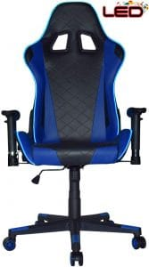 Turismo Racing Ancora Series Blue LED Gaming Chair Big and Tall - Black and Blue - Seat has Dual MEMORYFOAM System for Optimum Comfort in Gaming for Big Guys