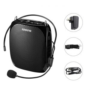 Zoweetek Portable Rechargeable Mini Voice Amplifier With Wired Microphone Headset and Waistband, Supports MP3 Format Audio