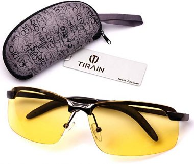 Tirain Men Polarized Anti Glare Day and Night Vision Driving Glasses Yellow Lens with Case