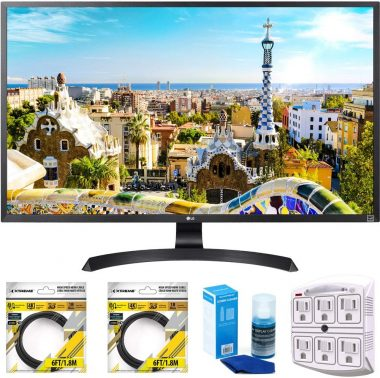 LG 32 3840x2160 Ultra HD 4k LED Monitor (32UD59-B) with 2x 6ft High Speed HDMI Cable Black, Universal Screen Cleaner & SurgePro 6 NT 750 Joule...