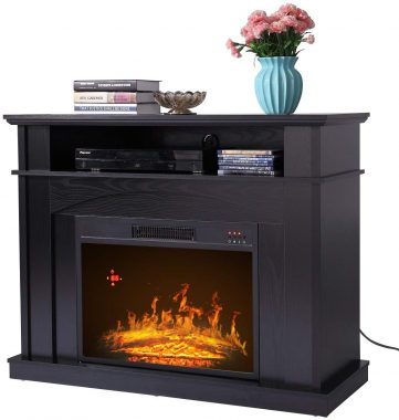 Sandinrayli 41 Large 1500W Room Adjustable Electric Fireplace TV stand w Remote Control