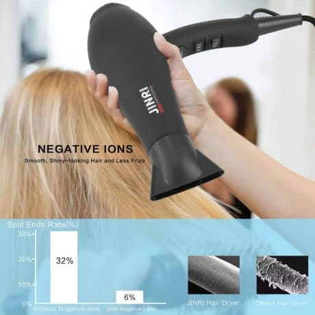 1875W Infrared Professional Salon Hair Dryer, Negative Ionic Blow Dryer for Fast Drying