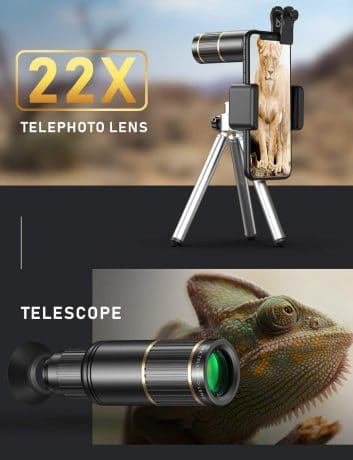 CoPedvic Phone Camera Lens Phone Lens for iPhone Samsung Pixel Android, 22X Telephoto Lens, 4K HD 0.67X Super Wide Angle