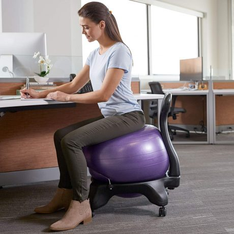 Gaiam Classic Balance Ball Chair – Exercise Stability Yoga Ball Premium Ergonomic Chair for Home and Office Desk