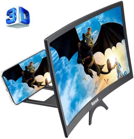 12'' 3D Curve Screen Magnifier for Cell Phone, HD Amplifier Projector Magnifing Screen Enlarger for Movies, Videos, and Gaming with Foldable Stand Compatible