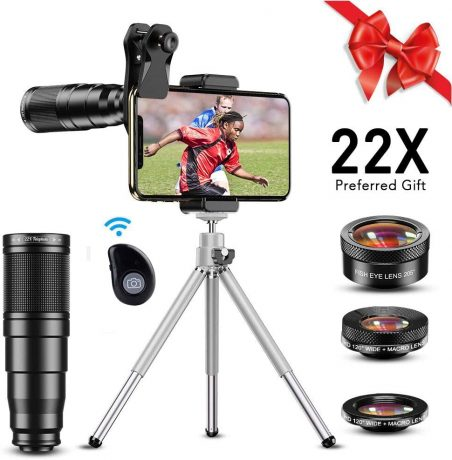 Apexel Phone Camera Lens Kit,22X Telephoto Lens, 205° Fish Eye Lens,HD 120° Wide Angle Plus Macro Lens 4 in 1 Lens kit Works with iPhone 11 10 8 7 6 6s Plus X XS XR Samsung