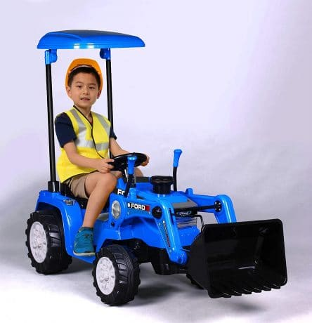 Beyond Infinity - Ford Children's Ride On Tractor, Blue - 12V Battery Powered Wheels, Working Bucket, Detachable Roof
