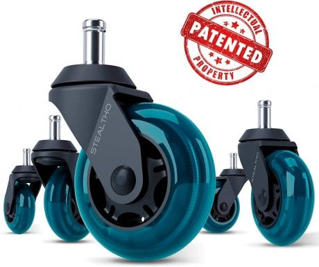 STEALTHO Replacement Office Chair Caster Wheels Set of 5 - Protect Your Floor - Quick & Quiet Rolling Over The Cables - No More Chair Mat Needed - Blue Polyurethane - Universal Stem 716 inch
