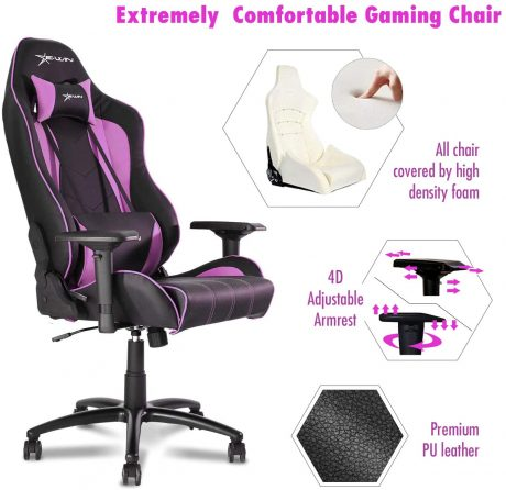 Ewin Gaming Chair Champion Series 4D Armrests Recliner Memory Foam Ergonomic High-Back PU Leather Racing Executive Computer Office Chair CPB-Pink
