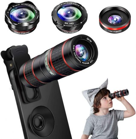 Phone Camera Lens Kit, 5 in 1 Cell Phone Lens - 12X Zoom Telephoto Lens + 0.36X Wide Angle Lens + 180°Fisheye Lens + 15X Macro Lens(2pcs) Compatible with iPhone XS XR X876s Plus Android Smartphones